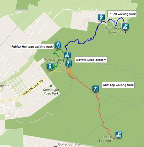Map of Walks from Govetts Leap