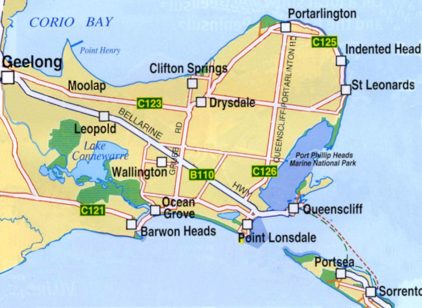 Map of Bellarine Peninsula