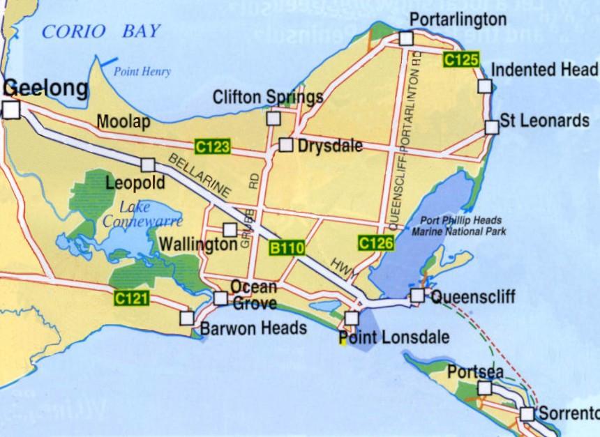 Map of Bellarine Peninsula